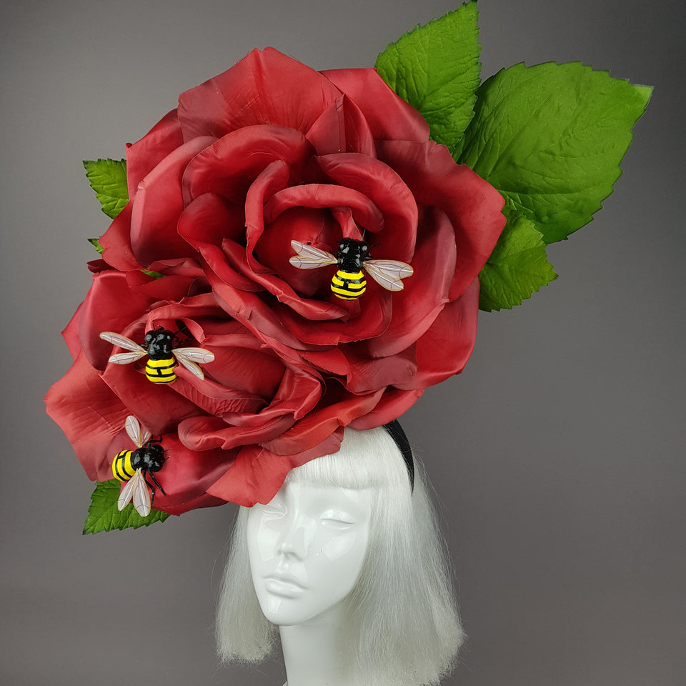 """Mel"" Giant Bees & Red Rose Headdress"