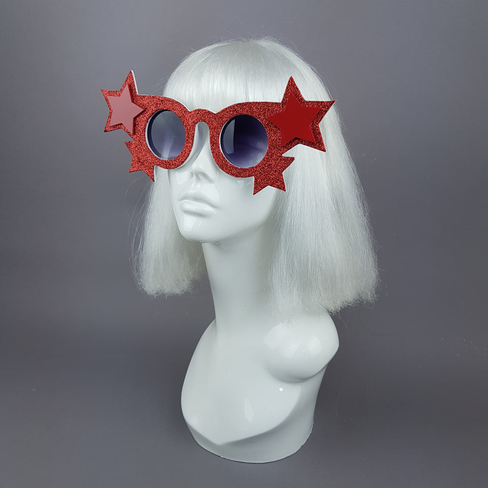 """Tähti"" Red Glitter Stars Sunglasses"