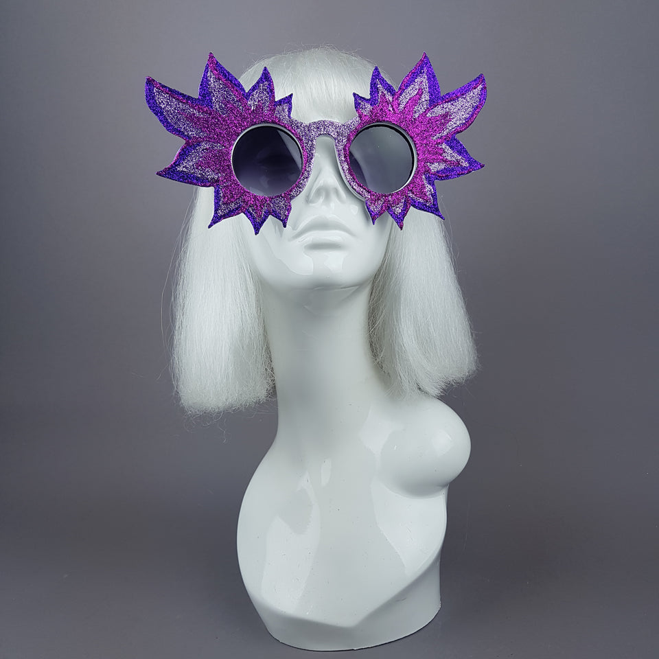 """Fiorire"" Large Colourful Glitter Flower Sunglasses"
