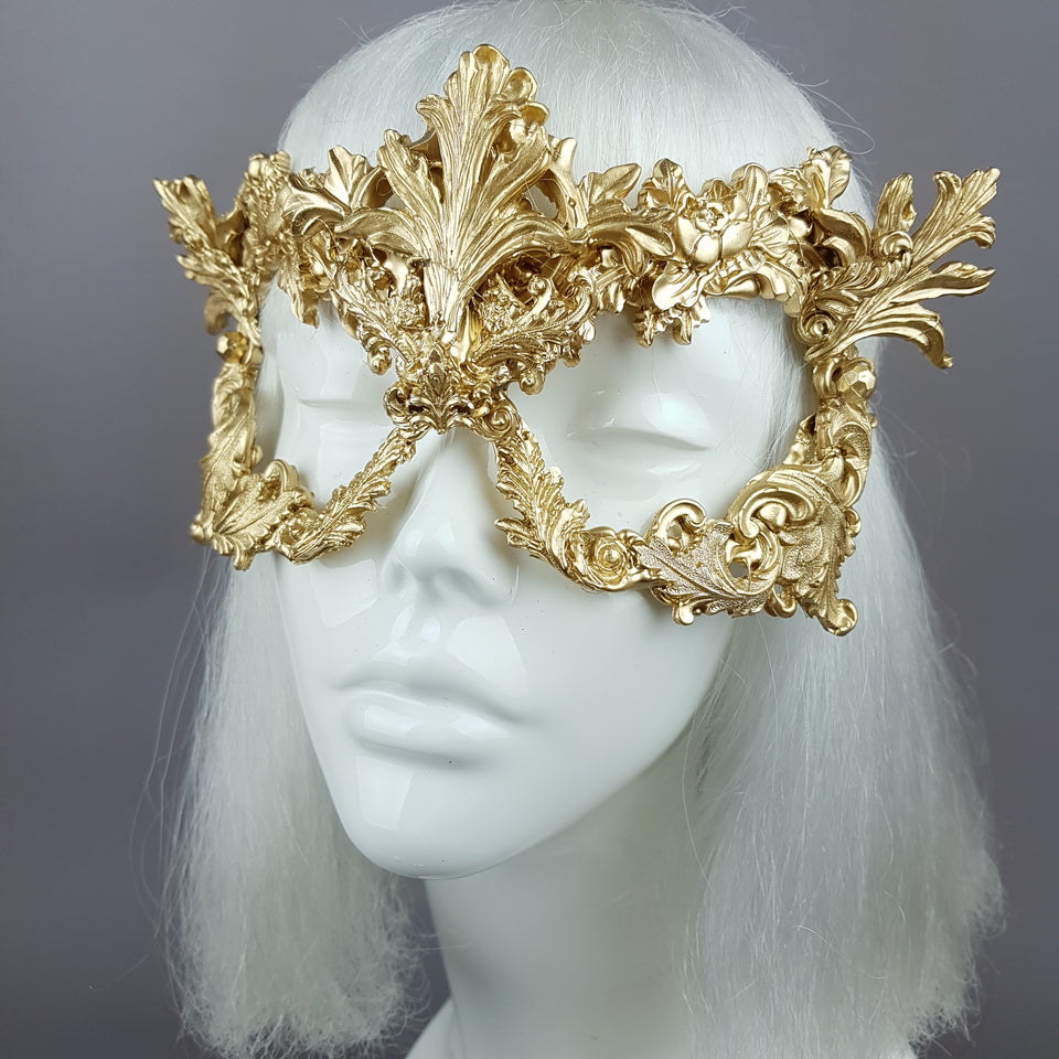 """Apollo"" Gold Filigree Halo Headpiece & Mask"