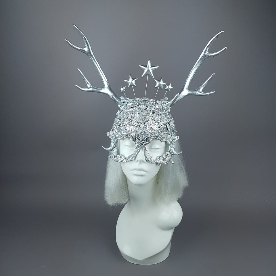 """Diana"" Silver Filigree Headpiece & Mask"