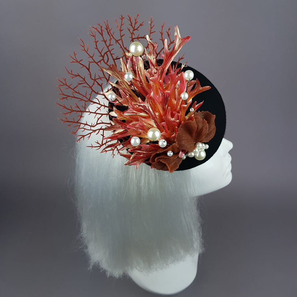 """Darya"" Coral Mermaid Fascinator Hat"
