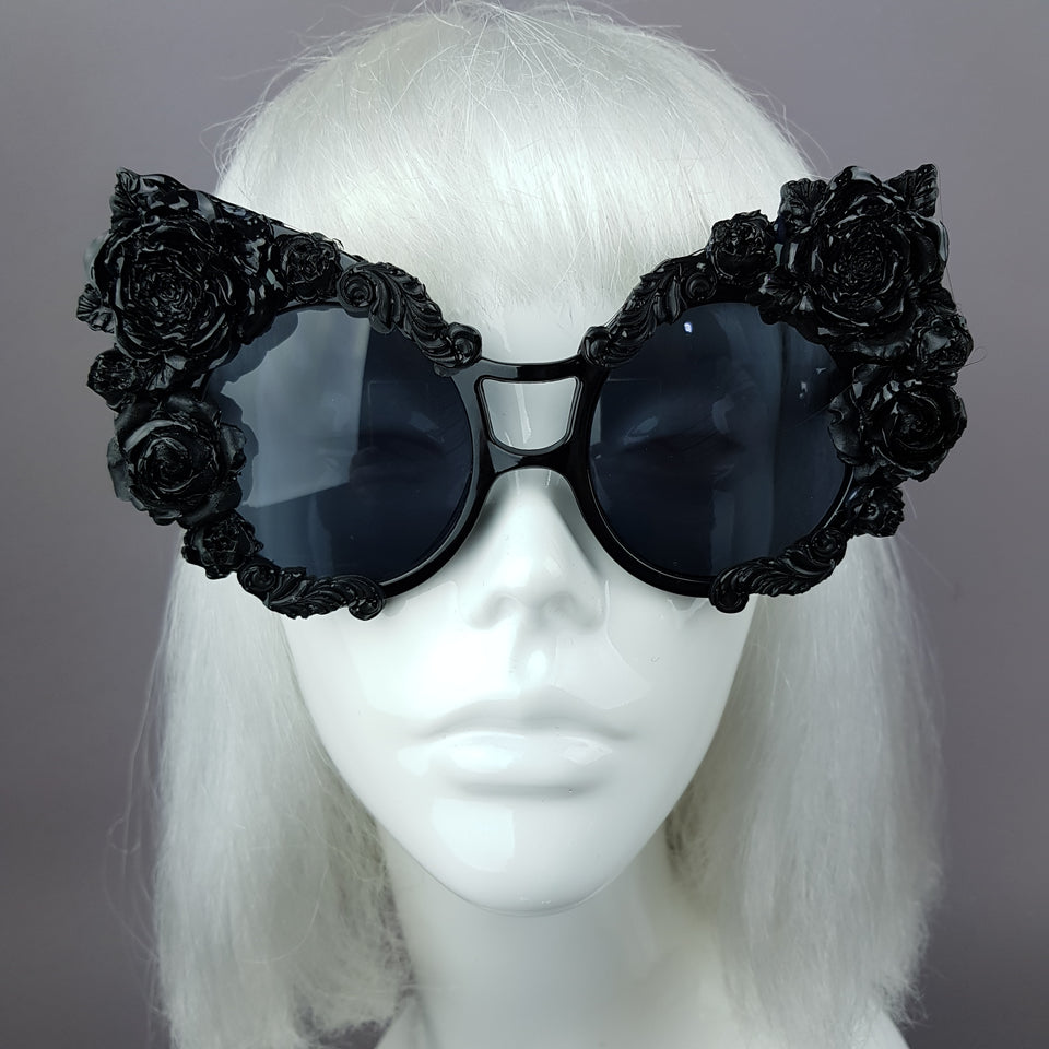 """Lycoris"" Black Oversized Filigree Rose Sunglasses"