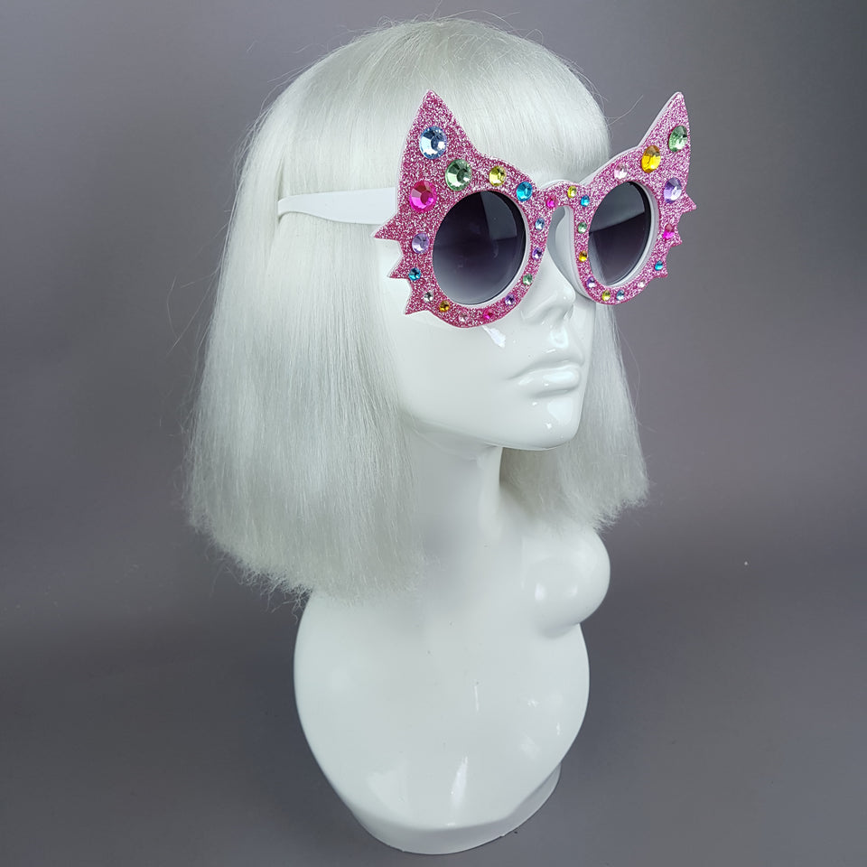 """Meowzer"" Pink Colourful Gem Glitter Cat Sunglasses"
