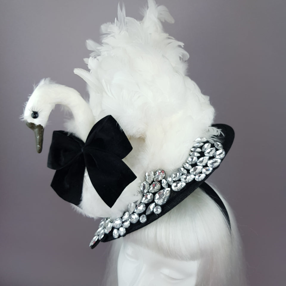 """Leda"" Swan & Jewel Fascinator Hat"
