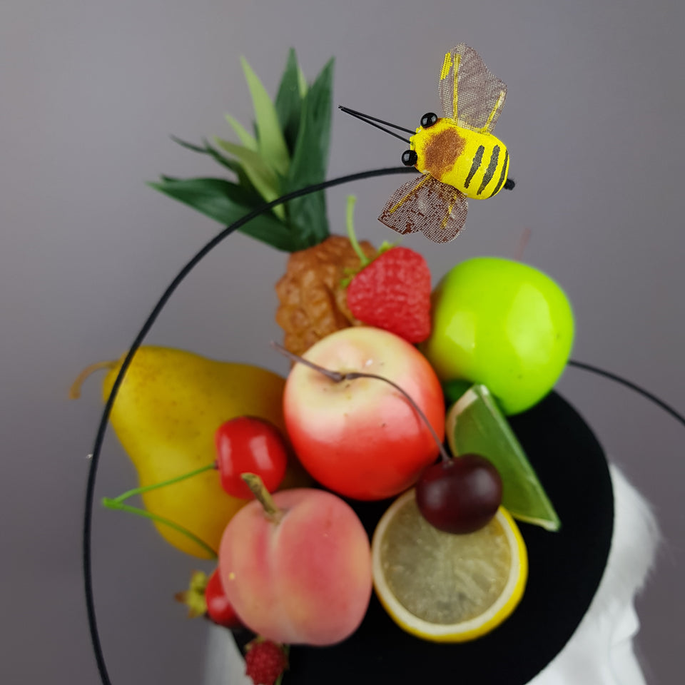 """Anzu"" Carmen Miranda Inspired Fruit & Bee Fascinator"