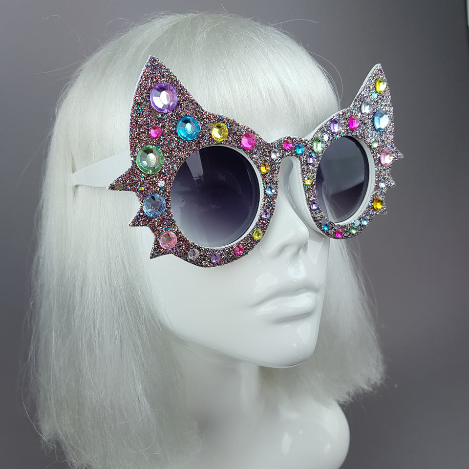 """Meowzer"" Multi-coloured Gem Glitter Cat Sunglasses"