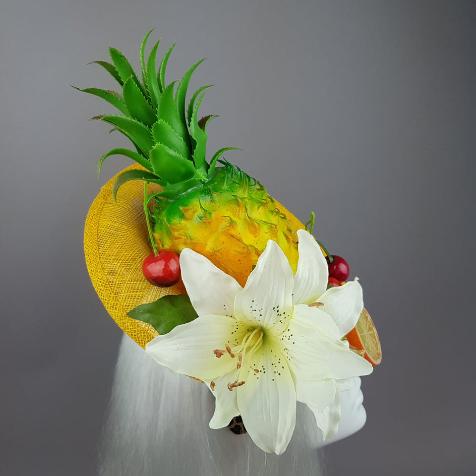 """Chika"" Pineapple, Cherry, Fruit Fascinator Hat"