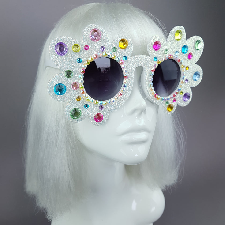 """Too Fabulous for You"" Glitter & Jewel Daisy Flower Sunglasses"