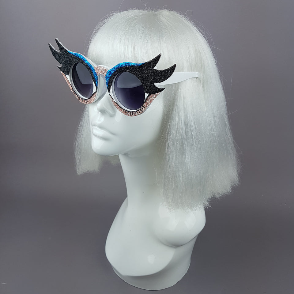 """Eyes Wide Open"" Eyelash & Eyeshadow Sunglasses (Pale)"
