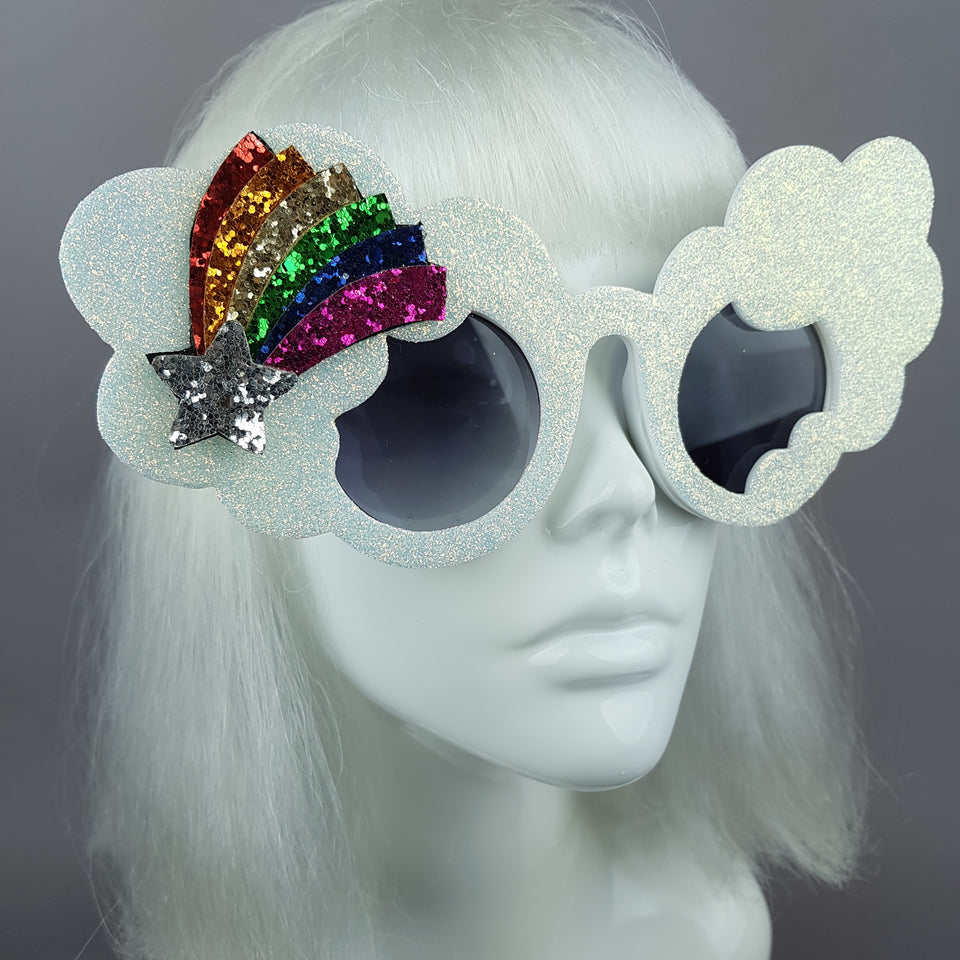 """After The Rain"" Rainbow & Cloud Glitter Sunglasses"