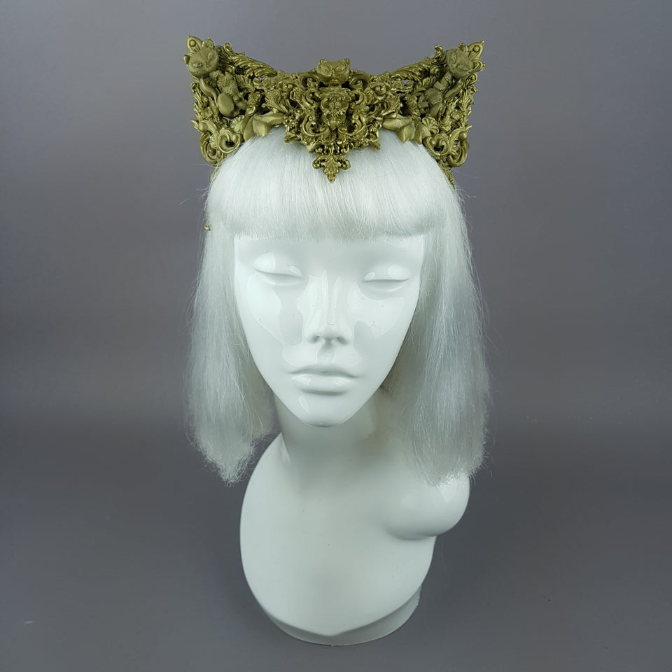 """Kitt"" Gold Filigree Cat Ear Headpiece"