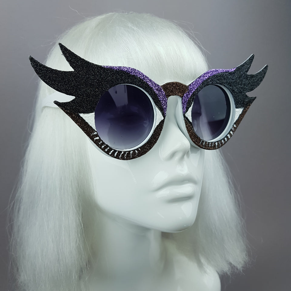 """Eyes Wide Open"" Eyelash & Eyeshadow Sunglasses (Dark Brown)"