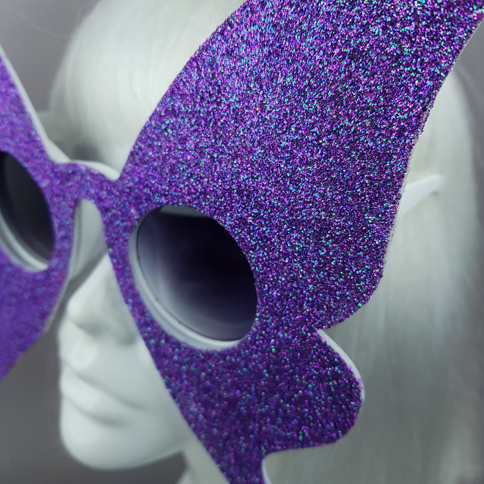 """Transformation"" Blue/Purple Glitter Butterfly Sunglasses"