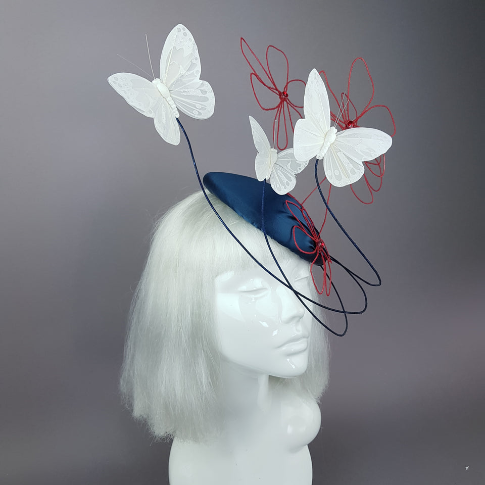 """Melantha"" Wire Flower & Butterfly Fascinator Hat"