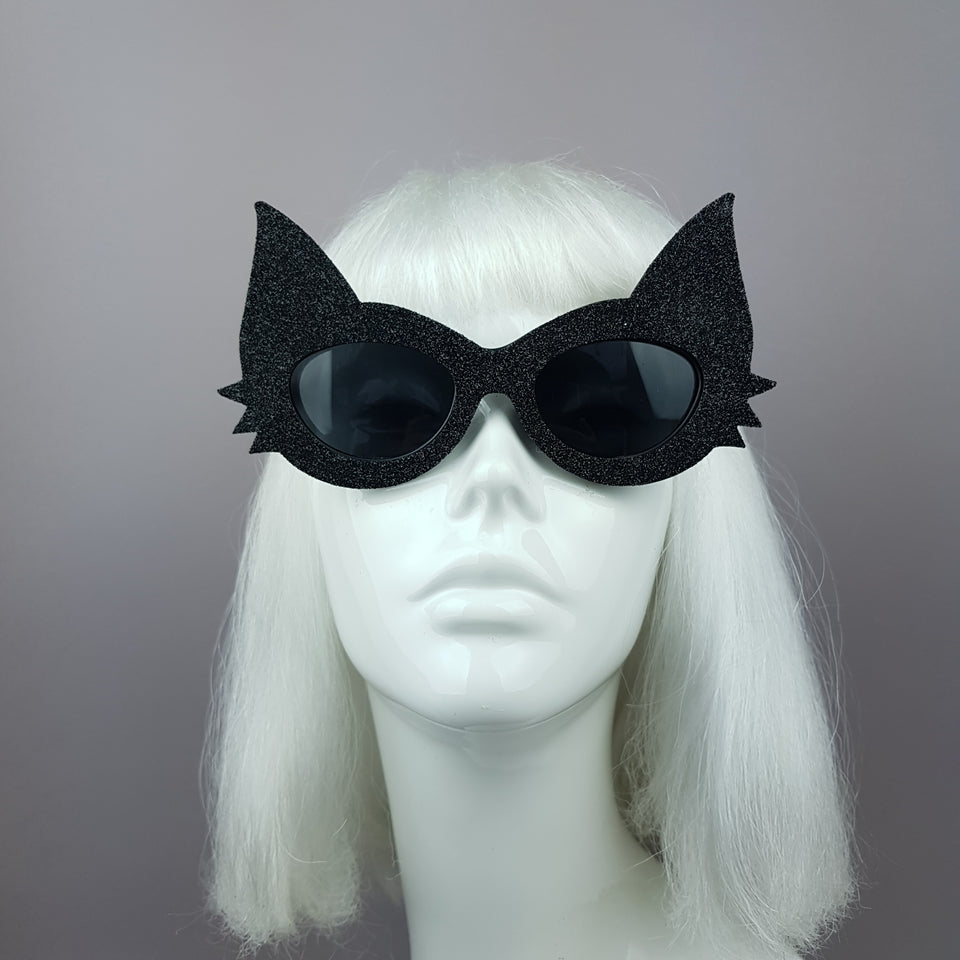 """Neko"" Black Glitter Cat Sunglasses"