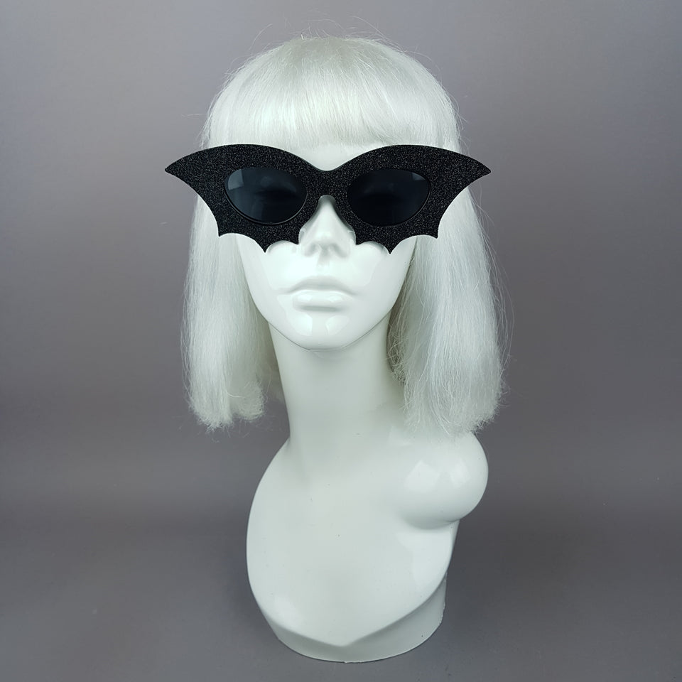 """Bela"" Black Glitter Bat Sunglasses"