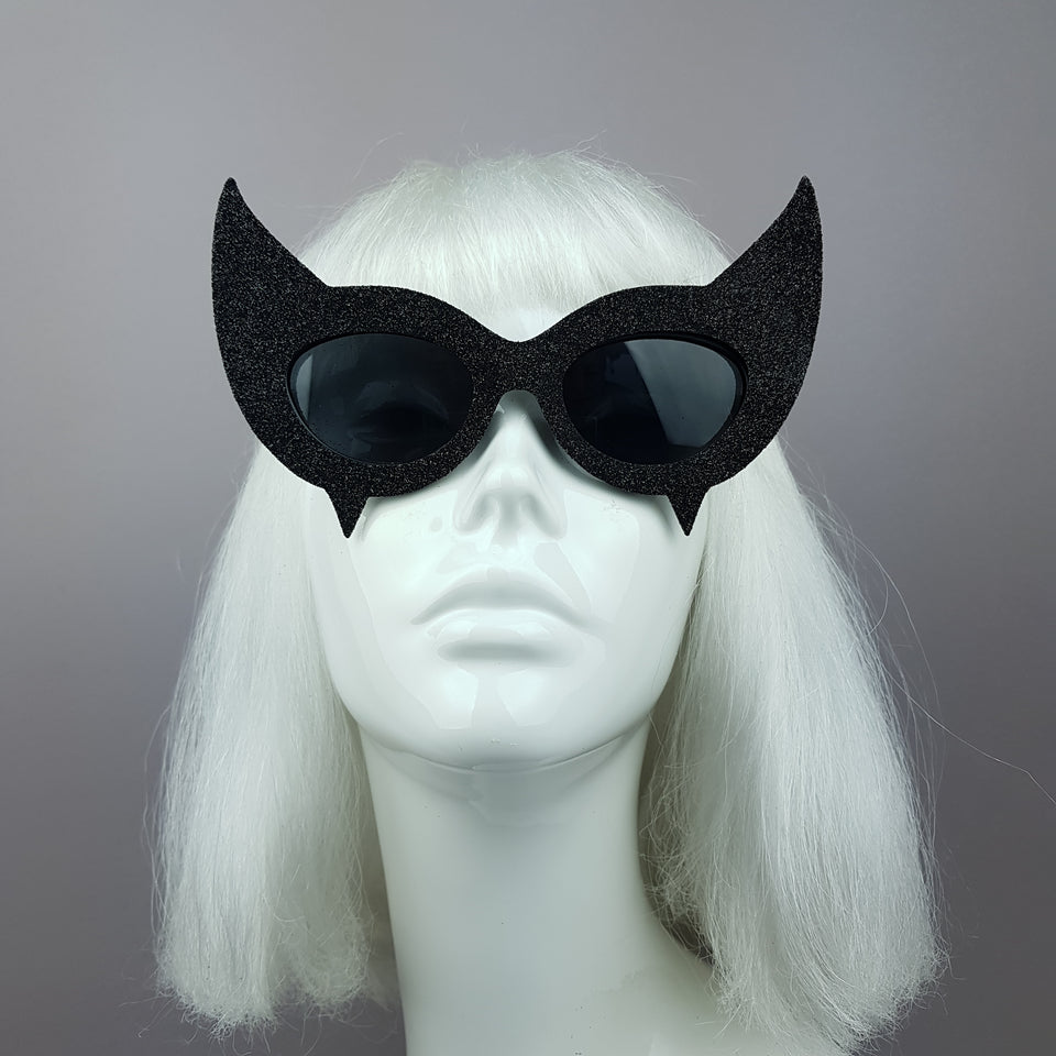 """Diablo"" Black Glitter Devil Horn Sunglasses"