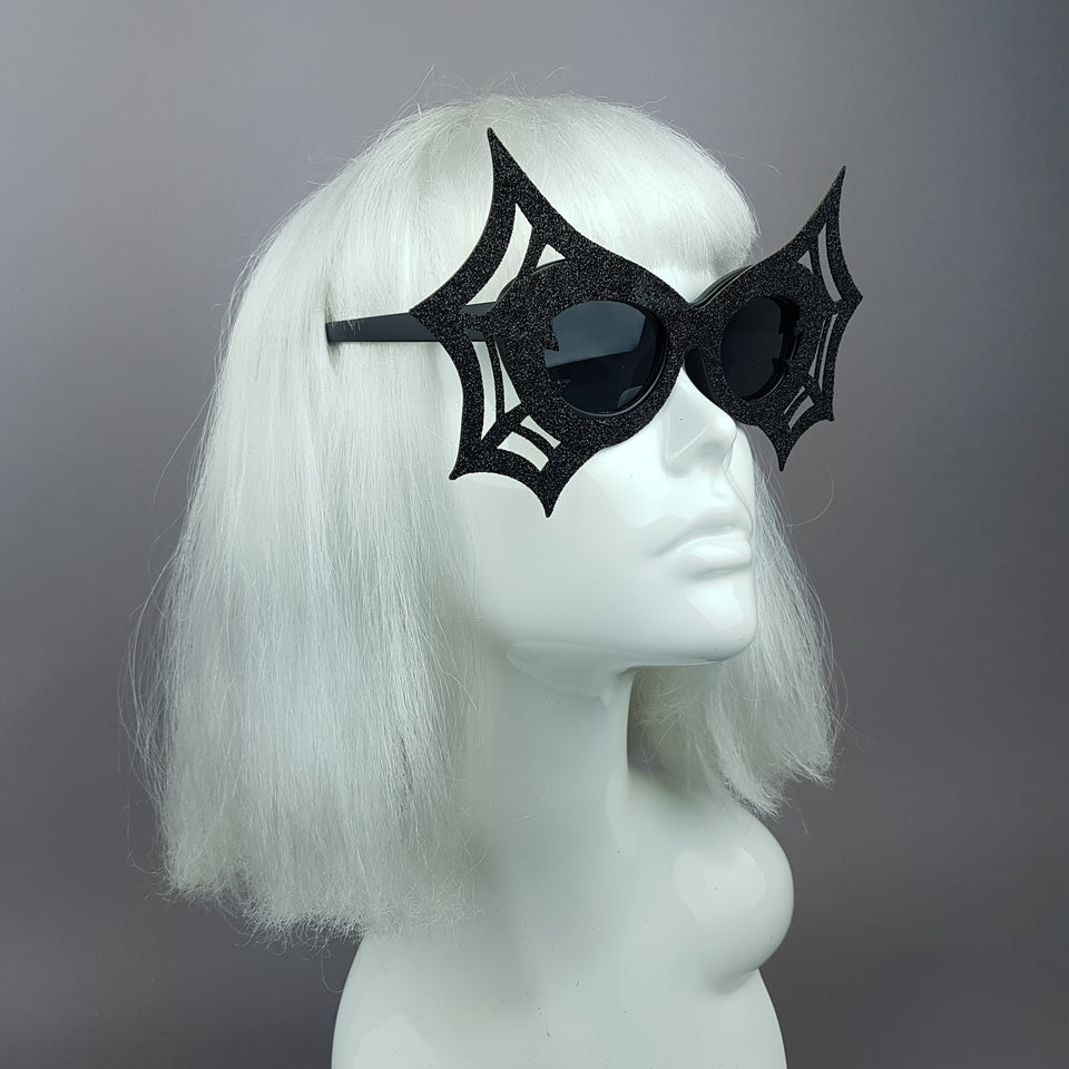 """Black Widow"" Black Glitter Spider Web Sunglasses"