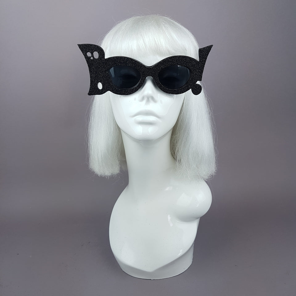 """Boo!"" Black Glitter Halloween Ghost Sunglasses"