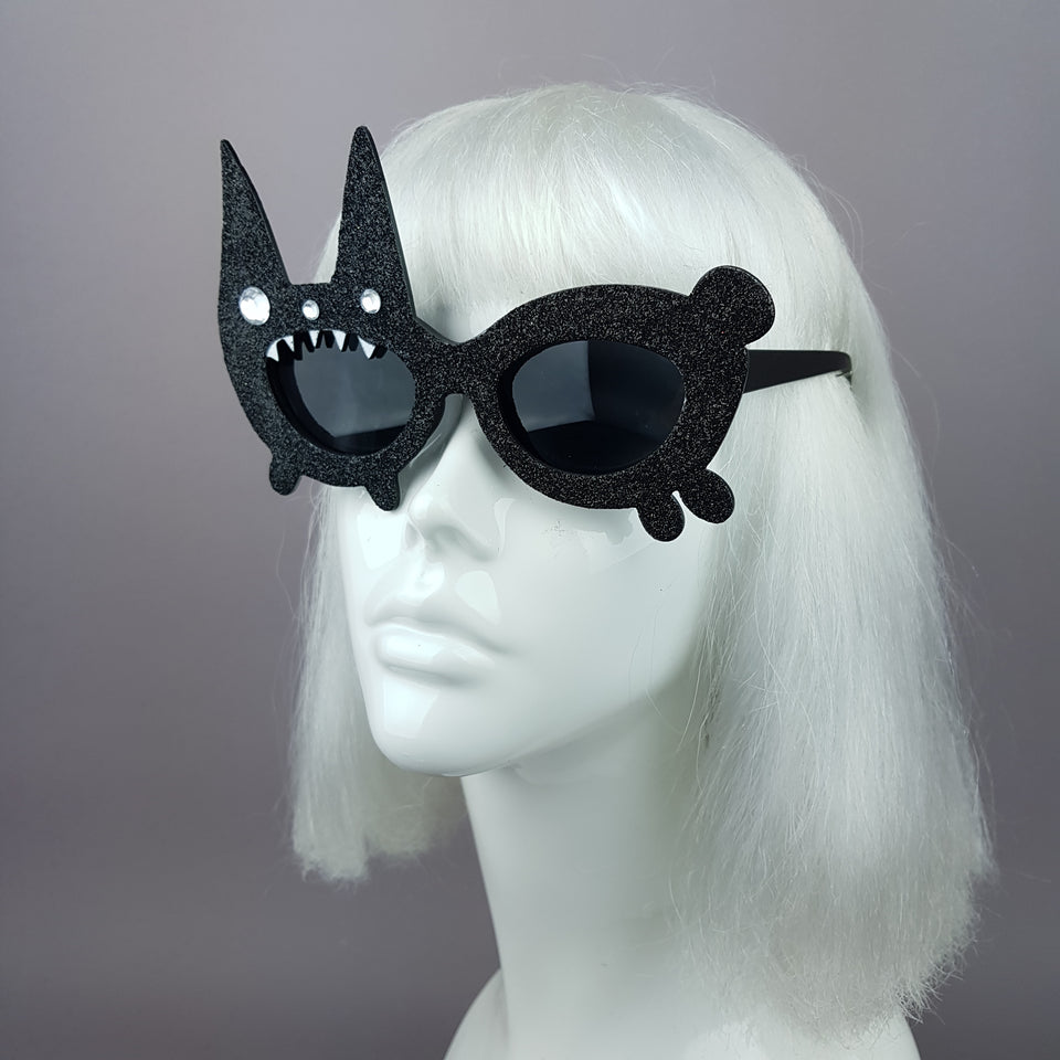 """Buffy"" Black Glitter Bunny Rabbit Sunglasses"