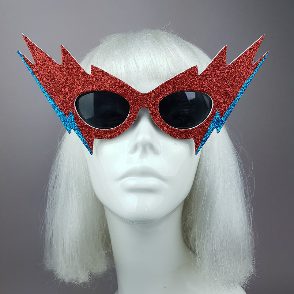 """Queen Bitch"" Smaller David Bowie Inspired Lightening Bolt Sunglasses"