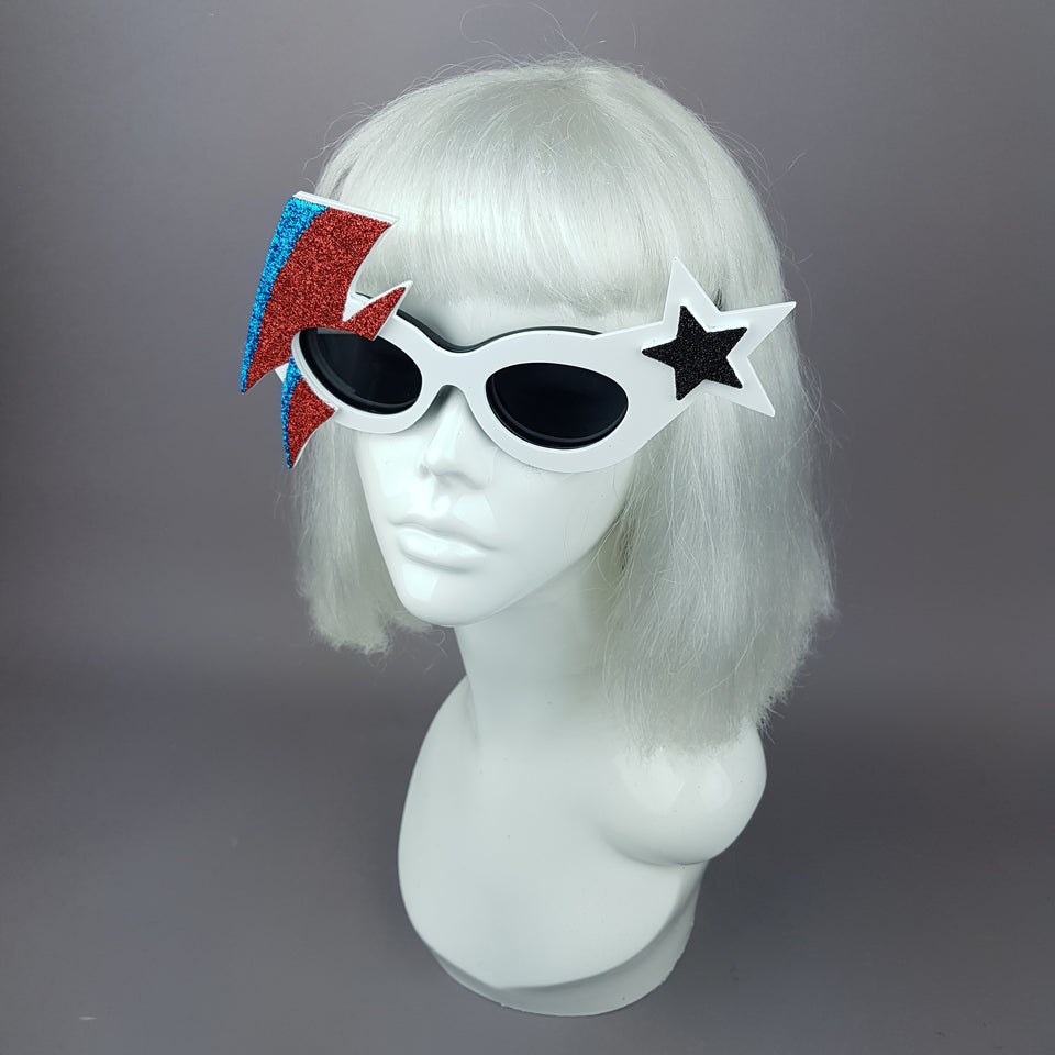 """Space Oddity"" Smaller David Bowie Inspired Lightening Bolt Sunglasses"
