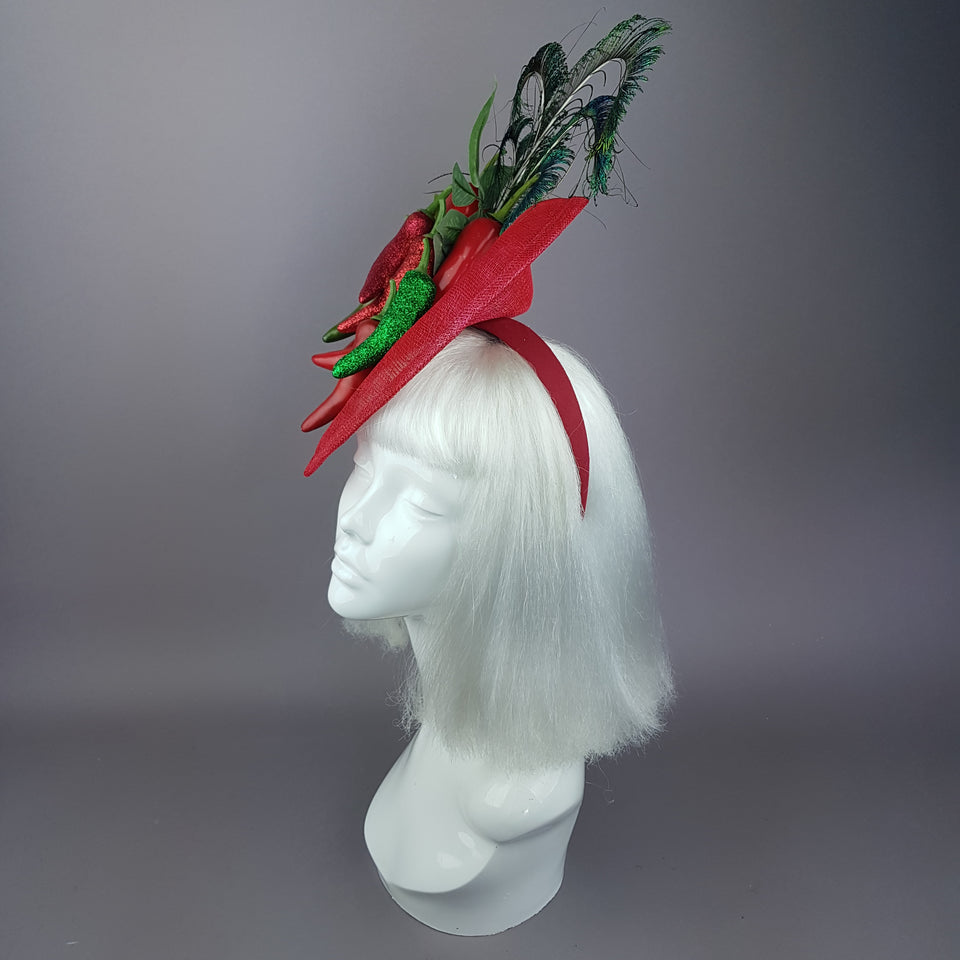 """Agni"" Chili Peppers & Peacock Feather Fascinator Hat"