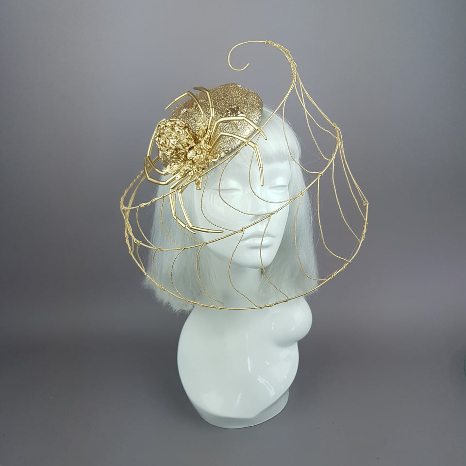 """Arachne"" Gold Spider & Web Fascinator Hat"