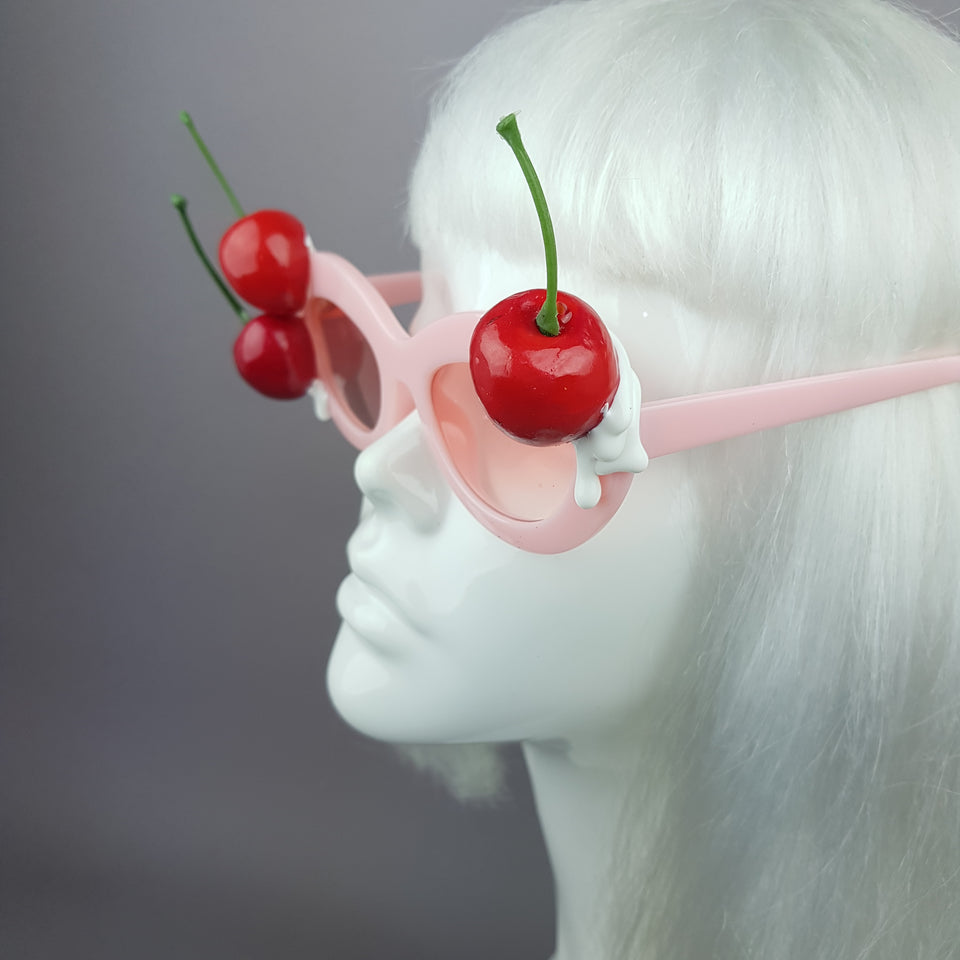 """Cheriko"" Cherries & Cream Pink Sunglasses"