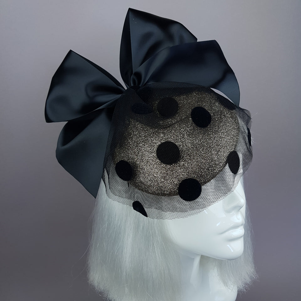 """Divina"" Gold & Black Polkadot Bow Fascinator"