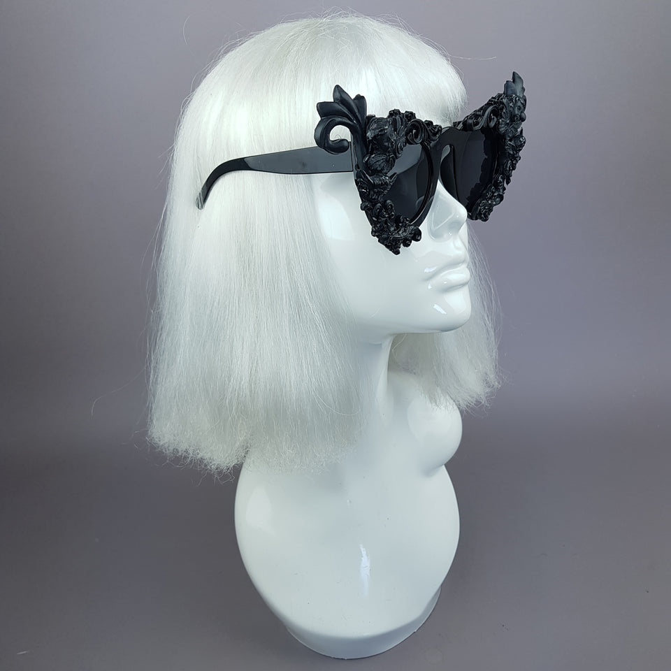 """Erela"" Black Filigree Cherub Ornate Sunglasses"