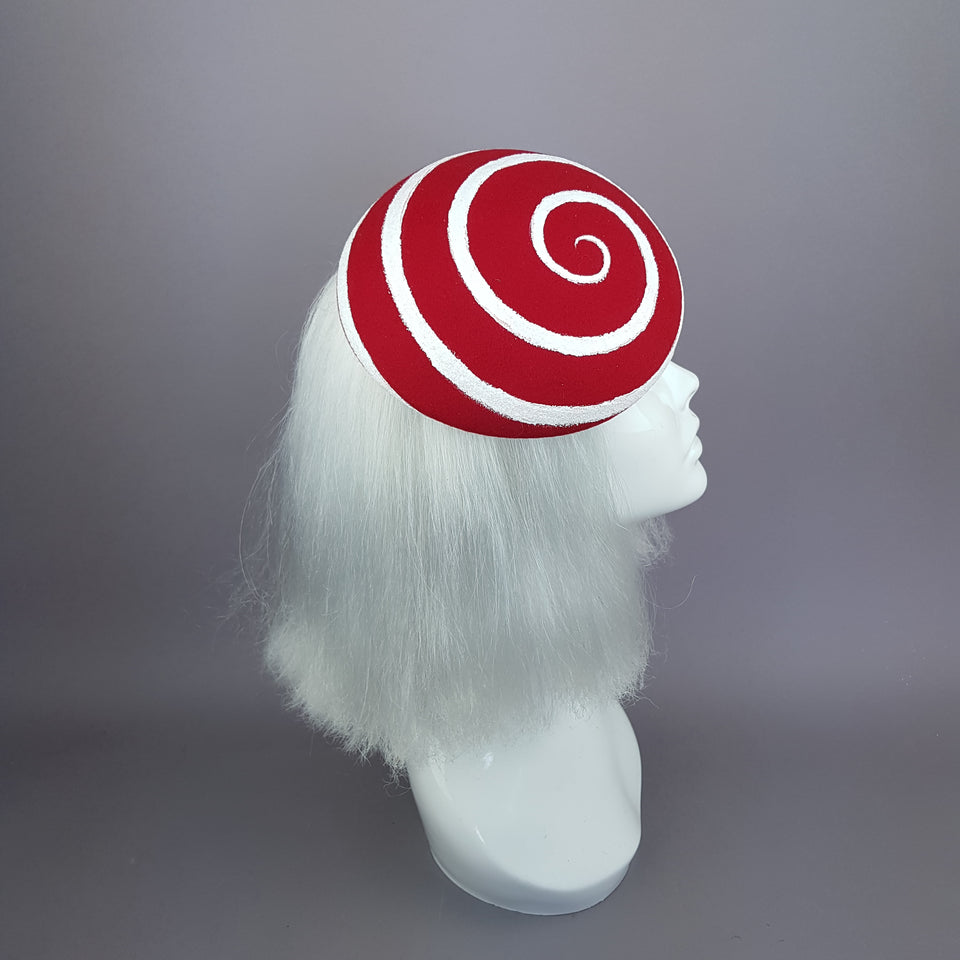 """Vertigo"" White and Red Glitter Swirl Fascinator Hat"