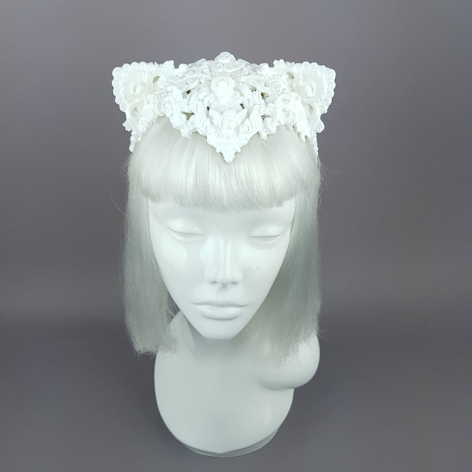 """Faline"" White Filigree Cat Ear Headpiece"