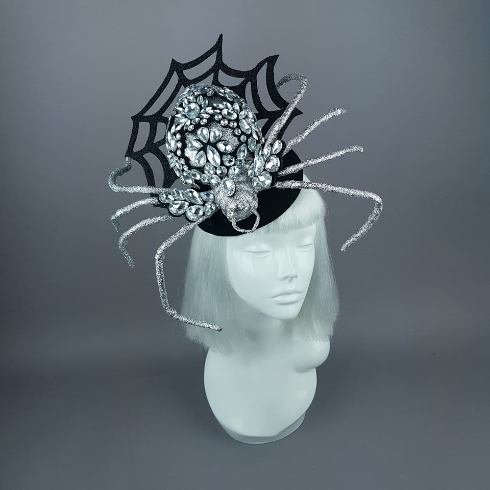 """Lullaby"" Silver Jewel Huge Spider Fascinator Hat"