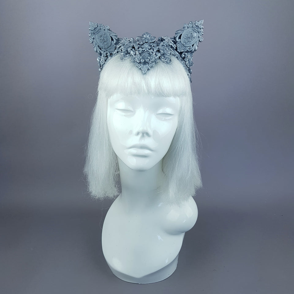 """Leandra"" Grey Filigree Cat Ear Headpiece"