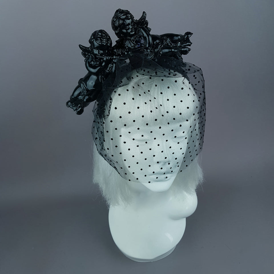 """Auguries of Innocence"" Black Cherub Veil Headpiece"