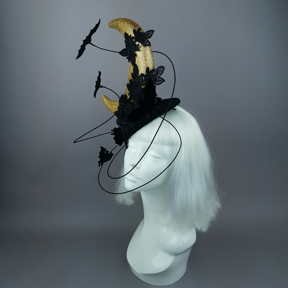 """Bad Moon Rising"" Moon & Bat Lace Cloud Fascinator Hat"