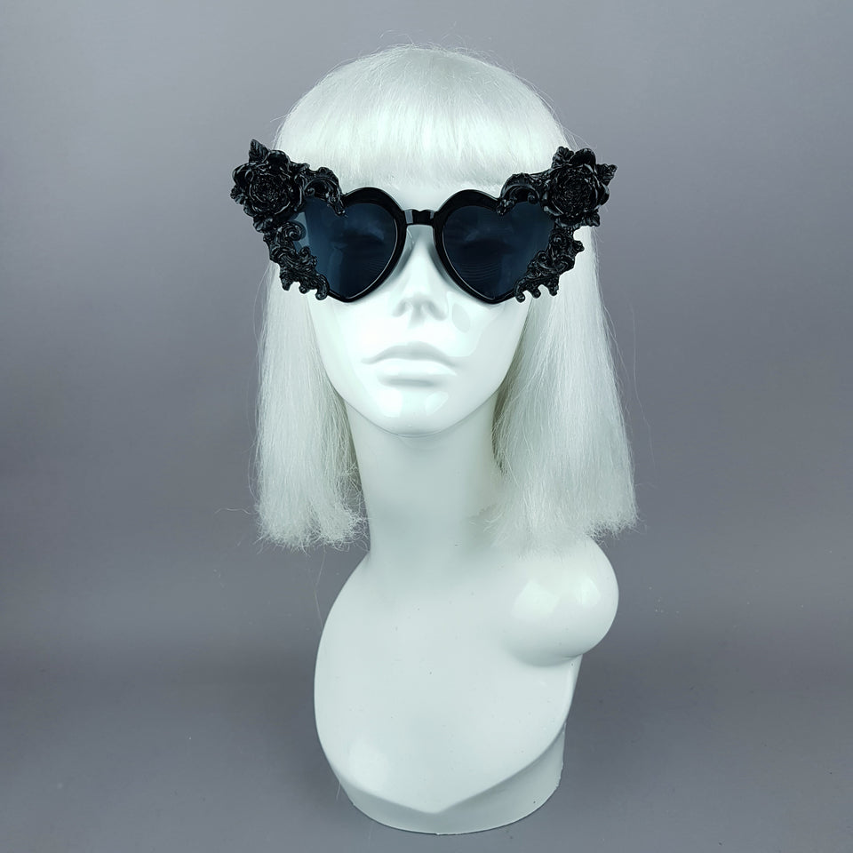 """Lisha"" Black Rose & Filigree Heart Shaped Sunglasses"