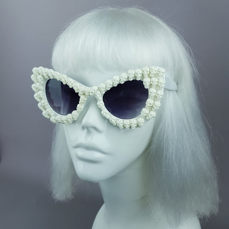 """DeadCute"" White Skull Sunglasses"