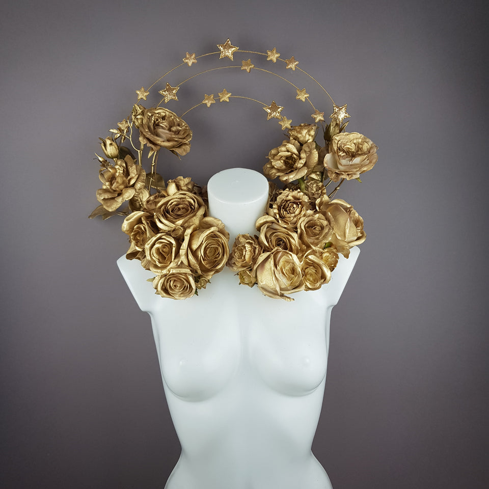 """Chandra"" Gold Rose & Star Halo Moulded Shoulder/Neckpiece"