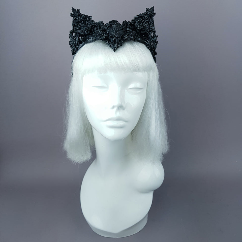 """Kuro"" Black Filigree Cat Ear Headpiece"