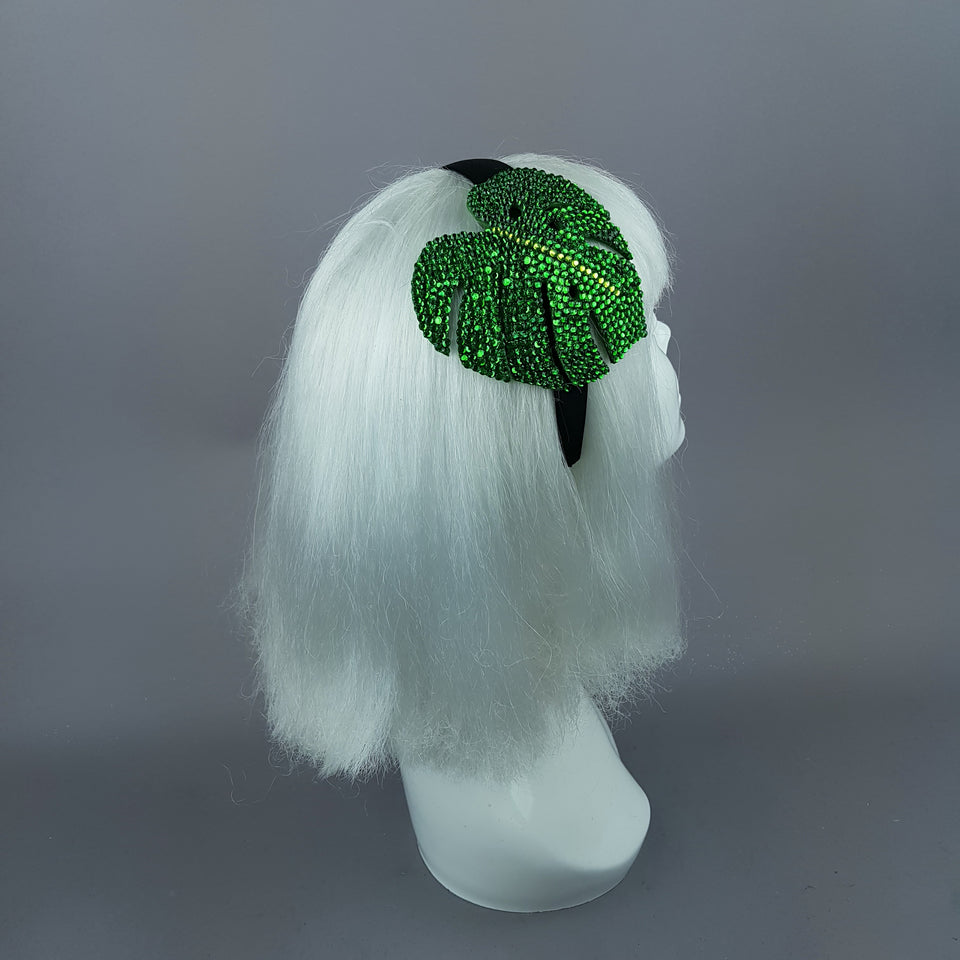"""Aitutaki"" Crystal Green Tropical Leaf Headpiece"