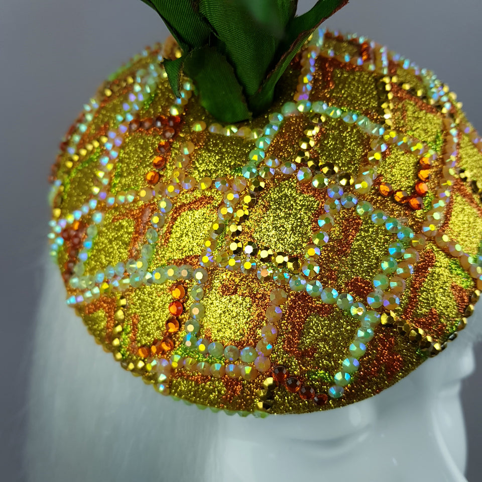 """Do You Like Piña Colada?"" Crystal Pineapple Fascinator Hat"