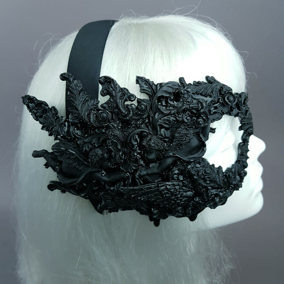 """Amoret"" Black Filigree Baroque Gothic Mask"