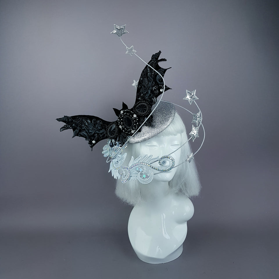 """Badriyah"" Bejewelled Bat, Moon, Lace Clouds, Stars Fascinator Hat"