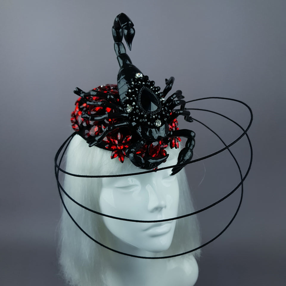 """Nerezza"" Giant Scorpion & Red Jewel Fascinator Hat"