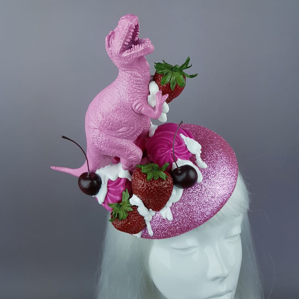 """T-Rex-Topia"" Pink Dinosaur, Strawberries & Cream Fascinator Hat"