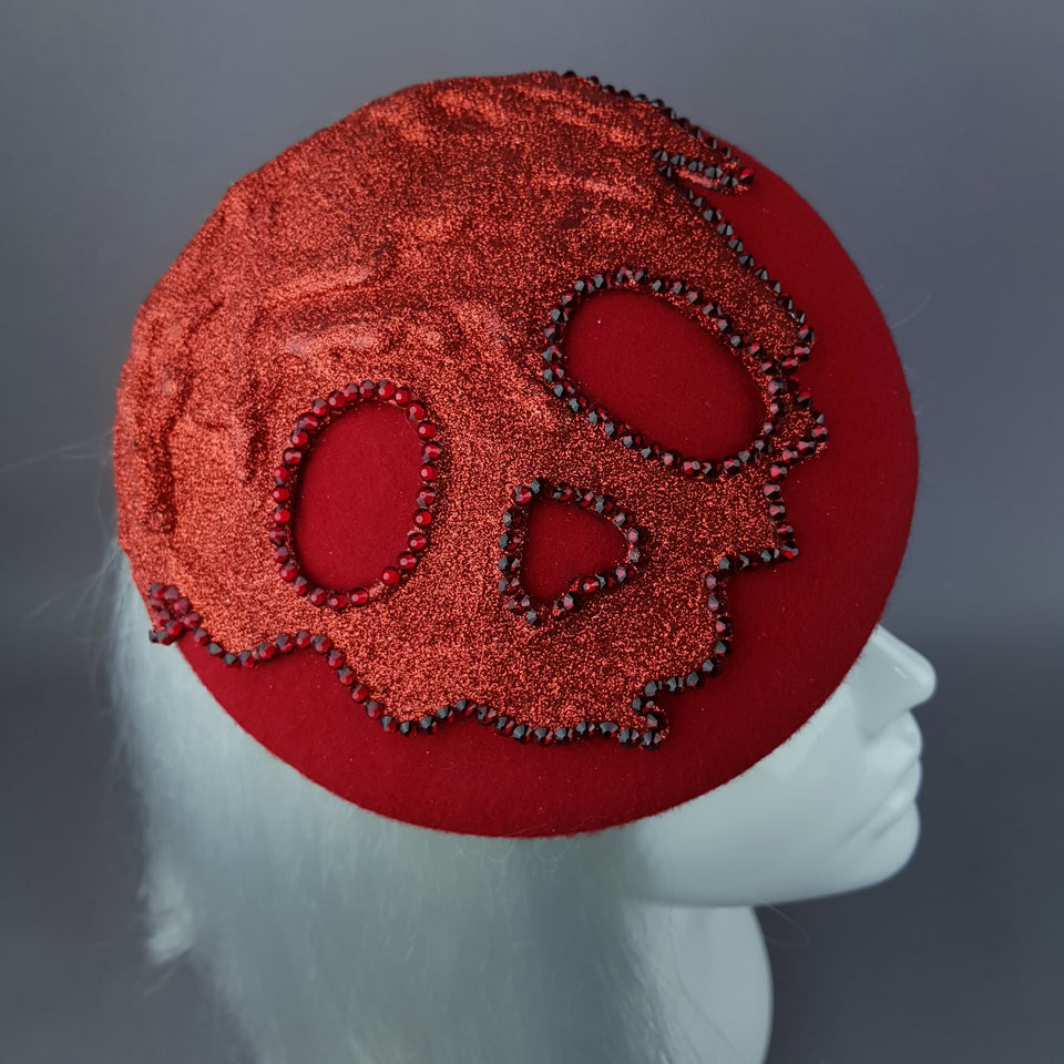 """Keres"" Red Glitter Dripping Skull Fascinator Hat"