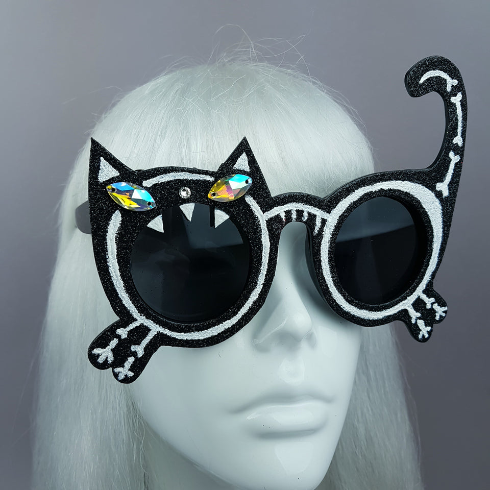 """Mao"" Black Glitter Skeleton Cat Sunglasses"